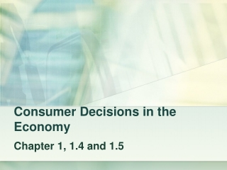 Consumer Decisions in the Economy