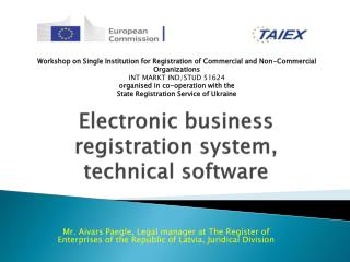 Electronic business registration system, technical software
