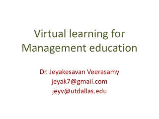 Virtual learning for Management education