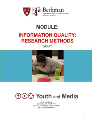 Module: Information quality: Research methods Draft
