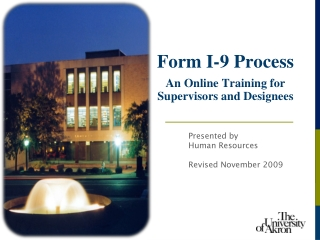 Form I-9 Process   An Online Training for Supervisors and Designees