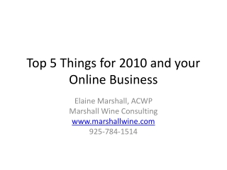 Top 5 Things for 2010 and your Online Business
