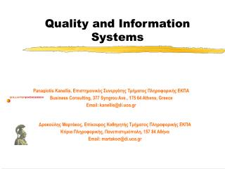 quality and information systems