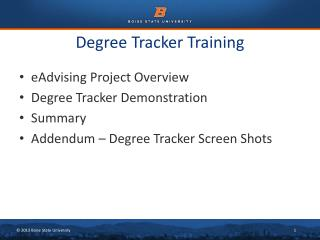 Degree Tracker Training