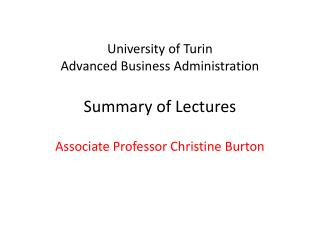 University of Turin Advanced Business Administration Summary of Lectures