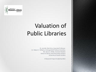 Valuation of  Public Libraries