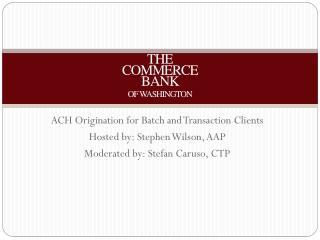 THE COMMERCE BANK OF WASHINGTON