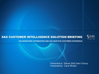SAS Customer Intelligence Solution Briefing