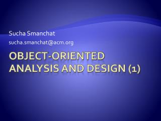 Object-Oriented Analysis and Design (1)