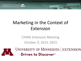 Marketing in the Context of Extension