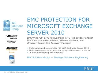EMC PROTECTION FOR  MICROSOFT EXCHANGE SERVER 2010