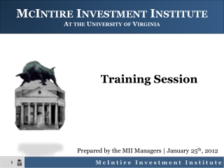McIntire Investment Institute At the University of Virginia