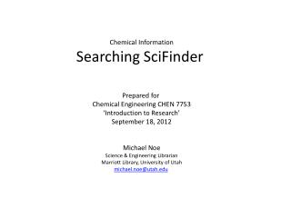 Chemical Information Searching  SciFinder