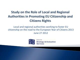 Study on the Role of Local and Regional Authorities in Promoting EU Citizenship and Citizens Rights