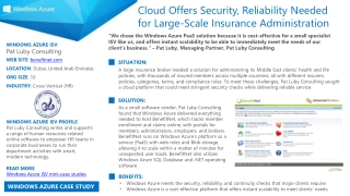 WINDOWS AZURE ISV :  Pat Luby Consulting WEB SITE :  benefitnet.com LOCATION :  Dubai, United Arab Emirates ORG SIZE :