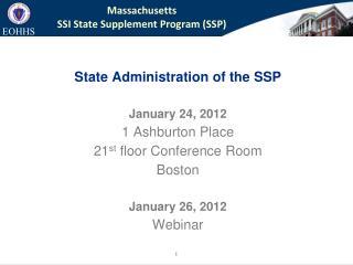 Massachusetts  SSI State Supplement Program (SSP)
