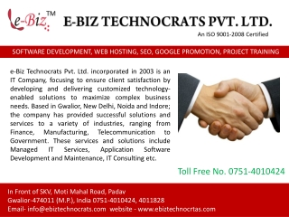 SOFTWARE DEVELOPMENT, WEB HOSTING, SEO, GOOGLE PROMOTION, PROJECT TRAINING