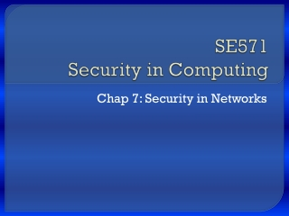 SE571 Security in Computing