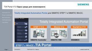 TIA Portal V12  Одна среда для инжиниринга