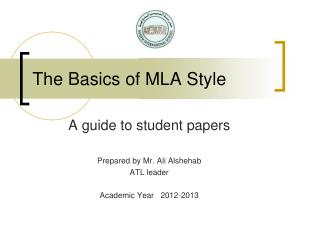 The Basics of MLA Style