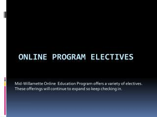 Online Program Electives