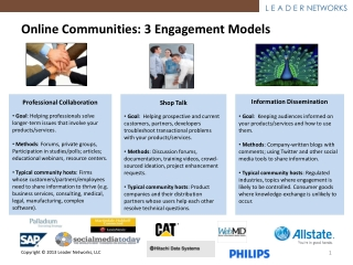 Online  Communities : 3  Engagement Models