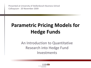 Parametric Pricing Models for Hedge Funds