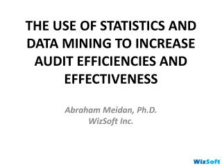 THE USE OF STATISTICS AND DATA MINING TO INCREASE AUDIT EFFICIENCIES AND EFFECTIVENESS