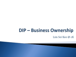 DIP – Business Ownership