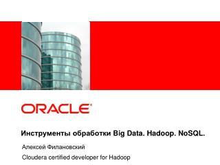 Инструменты обработки  Big Data .  Hadoop .  NoSQL .