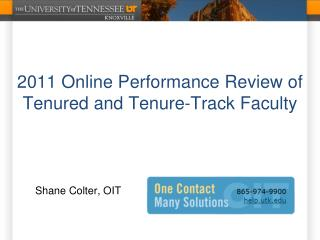 2011 Online Performance Review of Tenured and Tenure-Track Faculty