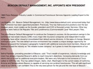 BEACON DEFAULT MANAGEMENT, INC. APPOINTS NEW PRESIDENT