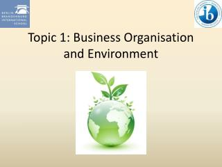 Topic 1: Business Organisation and Environment