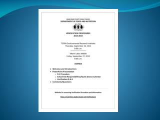 Training  for Verification of  Free and Reduced Price  Meals