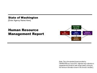 State of Washington [ Enter Agency Name Here ] Human Resource Management Report