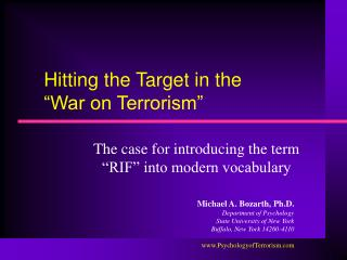 hitting the target in the   war on terrorism