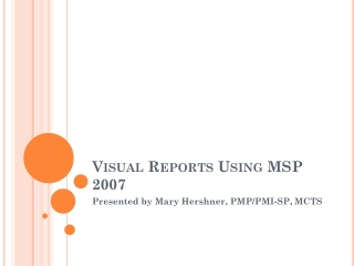 Visual Reports Using MSP 2007