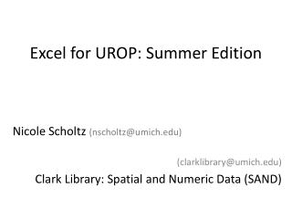 Excel for UROP: Summer Edition