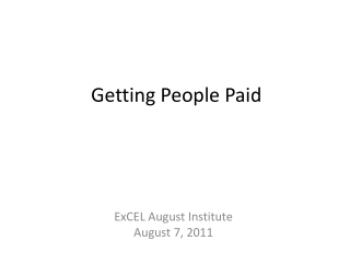 Getting People Paid