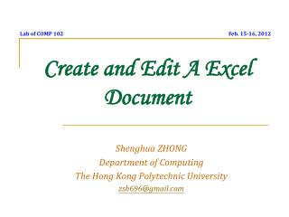 Create and Edit A Excel Document