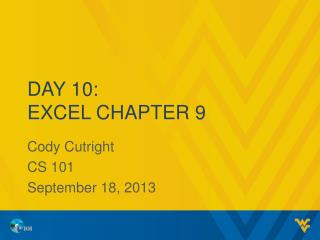 Day  10: Excel Chapter 9