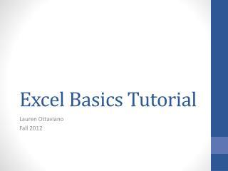 Excel Basics Tutorial