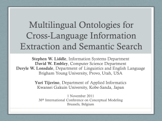 Multilingual Ontologies for Cross-Language Information Extraction and Semantic Search