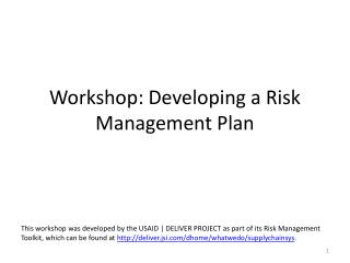Workshop: Developing a Risk Management Plan