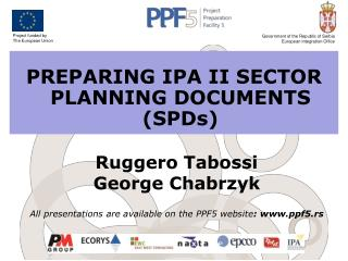 PREPARING IPA II SECTOR PLANNING DOCUMENTS (SPDs)