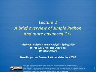 Lecture  3 A brief overview of simple Python and more advanced C++