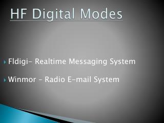 HF Digital Modes