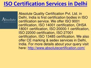 ISO Certification Consultants in Delhi