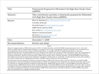 Framework Proposal for   EXtended  Cell High  Rate  Packet  Data  ( x HRPD )
