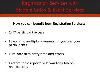 Registration Services with Student Union & Event Services